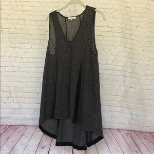 Ro+De Anthro gray and black sheer tunic
